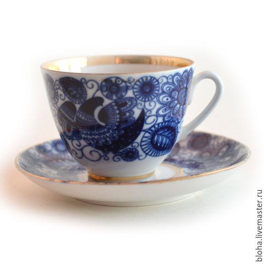 """Винтажная посуда. Ярмарка Мастеров - ручная работа. Купить Чайная пара """"Синяя птица"""". Handmade. Синий, винтажные чашки"""