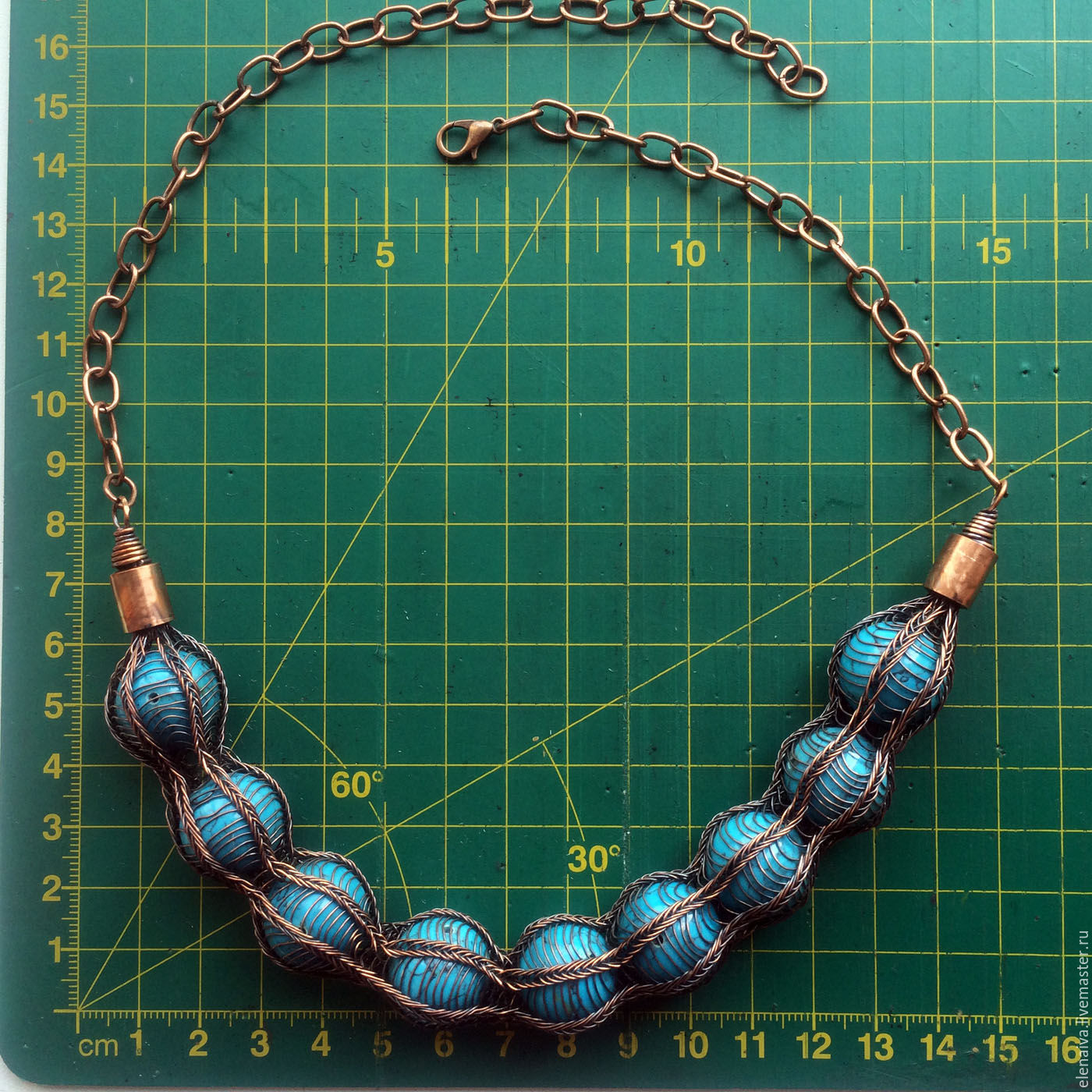 Necklace copper turquoise Viking Knit – shop online on Livemaster ...