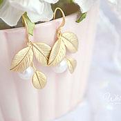 handmade. Livemaster - original item Earrings with natural river pearls, leaves, twig, leaves. Handmade.