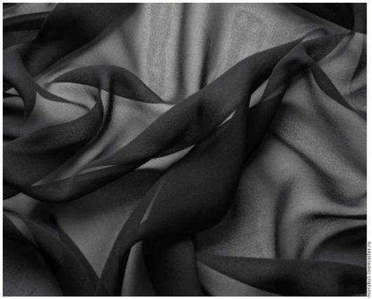 100% шелк- шифон черный гладкий Производство Италия