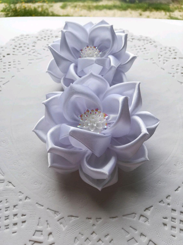 Белые бантики (цветы) из ленты, Заколки и резинки для волос, Тула,  Фото №1