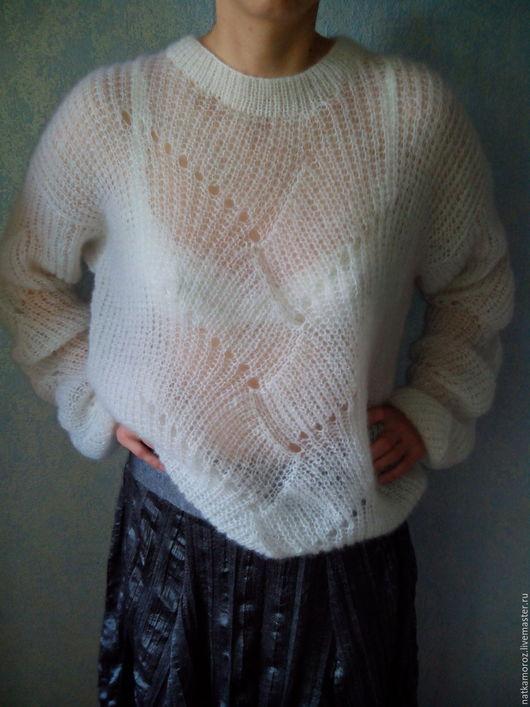 Кофты и свитера ручной работы. Ярмарка Мастеров - ручная работа. Купить Свитер из кидмохера. Handmade. Белый, свитер женский
