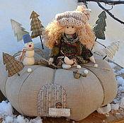 """Куклы и игрушки ручной работы. Ярмарка Мастеров - ручная работа """"Зима на тыкве"""", интерьерная композиция. Handmade."""