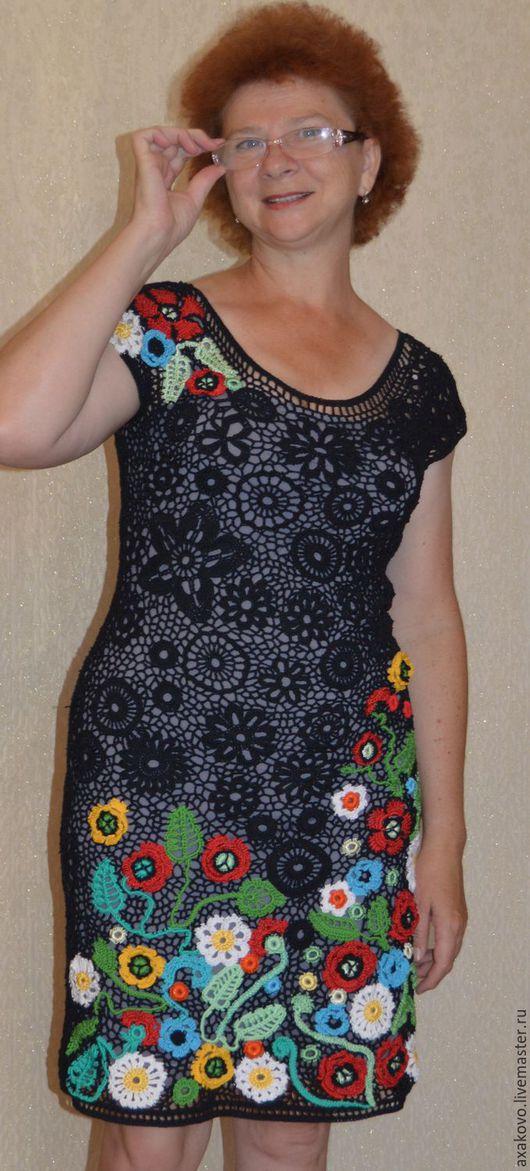 """Платья ручной работы. Ярмарка Мастеров - ручная работа. Купить Платье крючком с маками """"Венгрия"""". Handmade. Черный, ажурное платье"""