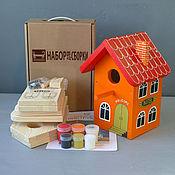 """Для дома и интерьера ручной работы. Ярмарка Мастеров - ручная работа Скворечник """"Отель Оранжевый"""" набор для сборки с красками и контурами. Handmade."""