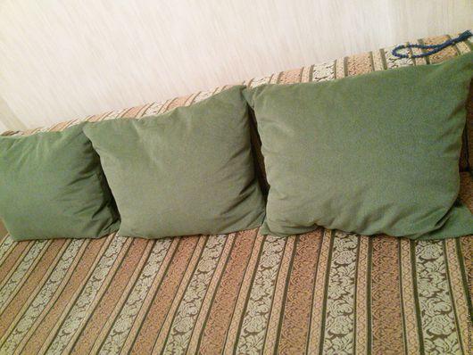 Мебель ручной работы. Ярмарка Мастеров - ручная работа. Купить Подушки диванные 50x60. Handmade. Тёмно-зелёный, зеленый