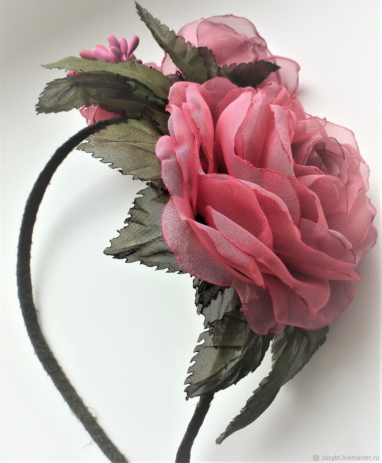 Rim with roses made of fabric. ' Floral bouquet', Headband, Yurga,  Фото №1