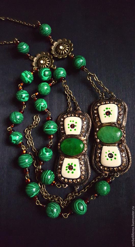 """Колье, бусы ручной работы. Ярмарка Мастеров - ручная работа. Купить Колье """"Магия зеленого"""". Handmade. Винтажный стиль"""
