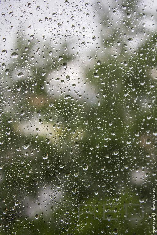 Фотокартины ручной работы. Ярмарка Мастеров - ручная работа. Купить Настроение. Handmade. Зеленый, дождь, капли, стекло, окно, зелень