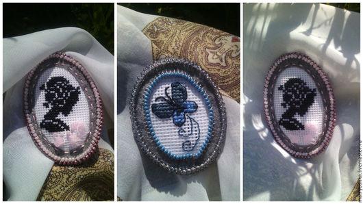 Брошки-рамочки `Камея` и `Бабочка`