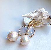 Украшения handmade. Livemaster - original item Long earrings with pearls Kasumi and aplicom. Handmade.