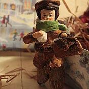 """Куклы и игрушки ручной работы. Ярмарка Мастеров - ручная работа Ватная игрушка """"Первый снег или как Федька- гимназист слепил снежок"""". Handmade."""