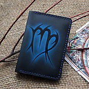 Сумки и аксессуары handmade. Livemaster - original item The passport cover is leather with a zodiac Virgo pattern. Handmade.