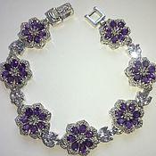 Украшения handmade. Livemaster - original item Violet bracelet with amethysts and tanzanites. Handmade.