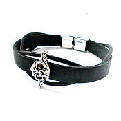 Украшения handmade. Livemaster - original item Leather bracelet with unisex owl. Handmade.