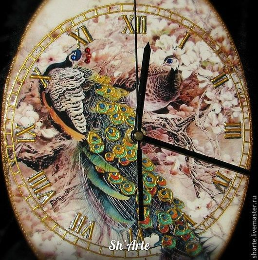 Часы для дома ручной работы. Ярмарка Мастеров - ручная работа. Купить Часы настенные Павлины. Handmade. Бежевый, часы с птицами