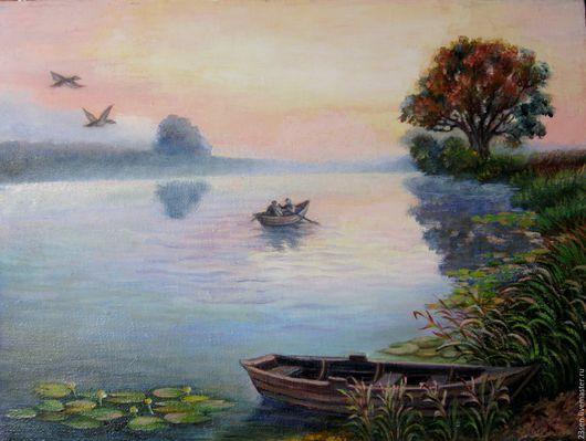 """Пейзаж ручной работы. Ярмарка Мастеров - ручная работа. Купить Картина """"Рыбалка на рассвете"""". Handmade. Разноцветный, утро, река, кувшинки"""