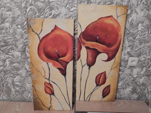 Картины цветов ручной работы. Ярмарка Мастеров - ручная работа. Купить Картина диптих Орхидеи. Handmade. Комбинированный, картина