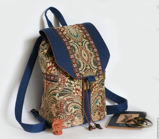 Рюкзак с узором в восточном стиле, рюкзак в подарок, женский рюкзак, сумки и рюкзаки ручной работы, автор Юлия Льняная сказка