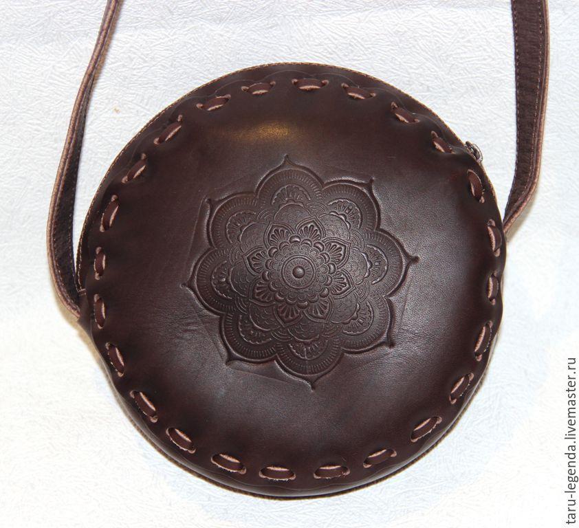 Женские сумки ручной работы. Ярмарка Мастеров - ручная работа. Купить Сумка кожаная круглая на молнии - тёмно-коричневая. Handmade.
