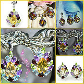 Украшения handmade. Livemaster - original item Earrings and pendant-Emilia:Citrine, Amethyst, Peridot, Topaz in 925 silver. Handmade.