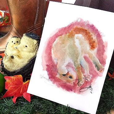 Картины и панно ручной работы. Ярмарка Мастеров - ручная работа Картина Кот-акробат. Handmade.