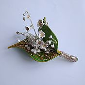 Украшения handmade. Livemaster - original item Brooch with lilies of the valley Spring drops. Handmade.