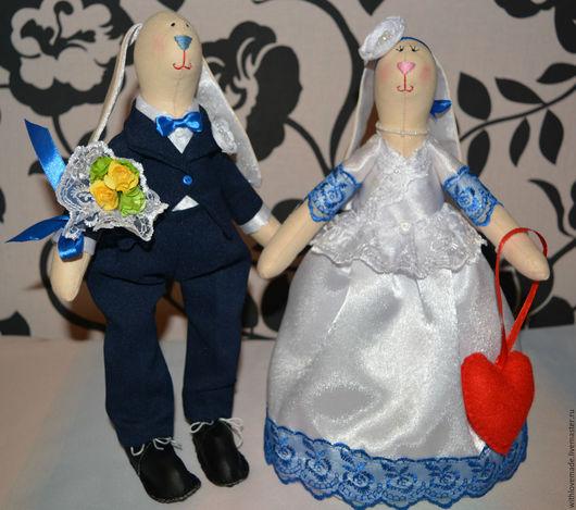 Куклы Тильды ручной работы. Ярмарка Мастеров - ручная работа. Купить Свадебные зайки. Handmade. Тёмно-синий, wedding, семья