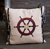Для дома и интерьера handmade. Livemaster - original item A gift for the day of the Navy to a sailor, captain-a pillow in the marine style steering Wheel. Handmade.