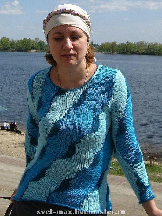 Кофты и свитера ручной работы. Ярмарка Мастеров - ручная работа. Купить Свитер Днепровские волны. Handmade. Ручное вязание