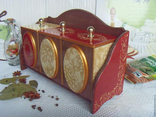 Кухня ручной работы. Ярмарка Мастеров - ручная работа. Купить Полка и три короба  декупаж коричневый красный цвет деревянна. Handmade.