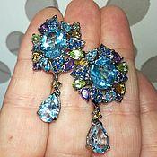Украшения handmade. Livemaster - original item Queen Anne Pendants earrings with blue Topaz. Handmade.