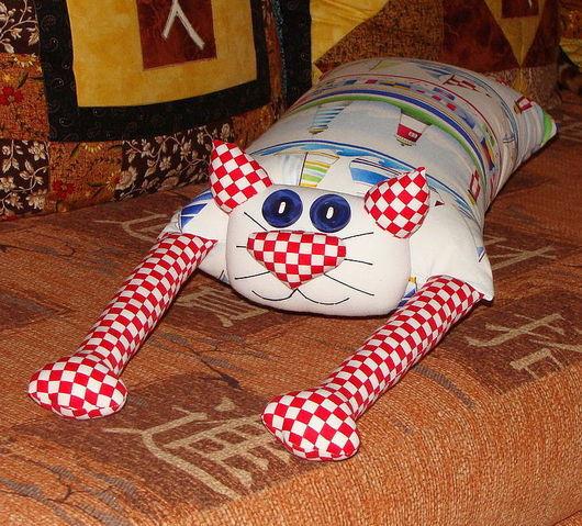 """Детская ручной работы. Ярмарка Мастеров - ручная работа. Купить Игрушка-подушка """"Радужный кот"""" морской. Handmade. Подушка декоративная"""