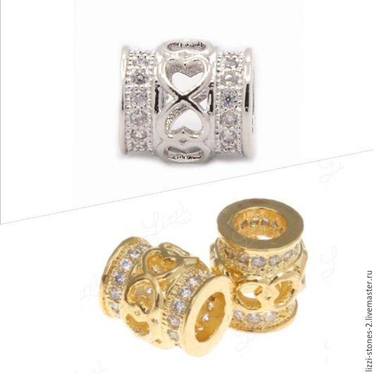 Бусина бочонок с сердечками золото и серебро (Milano) Евгения (Lizzi-stones-2)