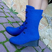 Обувь ручной работы. Ярмарка Мастеров - ручная работа Сапожки валенки тёплые высокие Синие. Handmade.