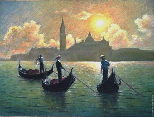 Город ручной работы. Ярмарка Мастеров - ручная работа. Купить Воспоминание о Венеции. Handmade. Венеция, гондольеоы, бумага для пастели, угогль