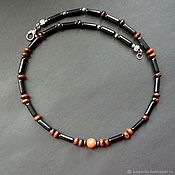 Украшения handmade. Livemaster - original item Men`s choker made of obsidian. Handmade.