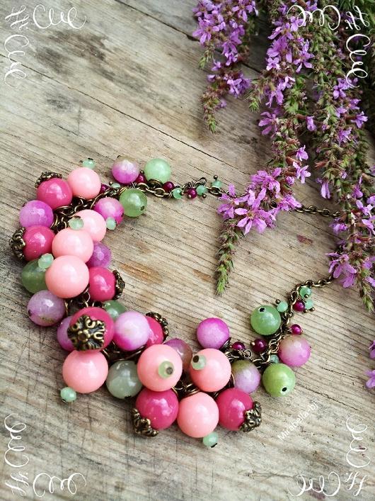 Колье, бусы ручной работы. Ярмарка Мастеров - ручная работа. Купить Колье из натуральных камней Pink Green. Handmade.