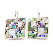 Украшения handmade. Livemaster - original item EARRINGS mother of Pearl mosaic. Large square earrings.. Handmade.