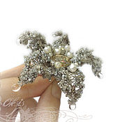 Brooches handmade. Livemaster - original item Brooch-pendant Delicate silver flower-white pearls, gray lace. Handmade.
