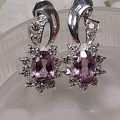Украшения handmade. Livemaster - original item earrings: Silver earrings with pink spinel.. Handmade.