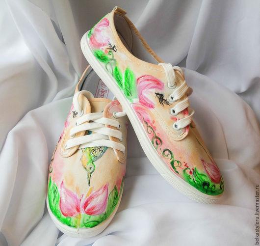 """Обувь ручной работы. Ярмарка Мастеров - ручная работа. Купить Кеды  """"Колибри"""", кеды с рисунком, роспись кед.. Handmade. Кеды"""