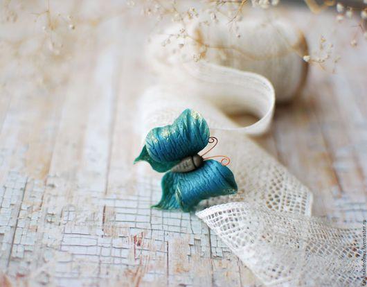 Заколки ручной работы. Ярмарка Мастеров - ручная работа. Купить Бабочка.. Handmade. Заколка для волос, украшение для волос, зеленый, бирюзовый