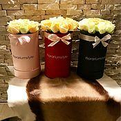 Цветы и флористика ручной работы. Ярмарка Мастеров - ручная работа Букеты из роз в шляпной коробке. Handmade.