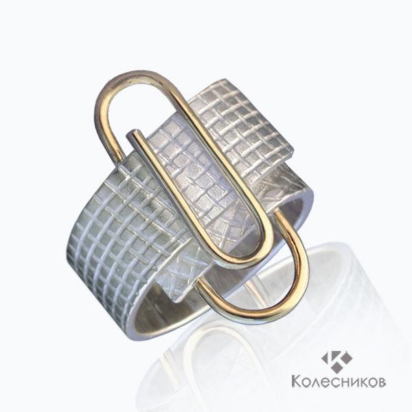 Silver ring 'Clip' (silver, gilding), Rings, Yaroslavl,  Фото №1
