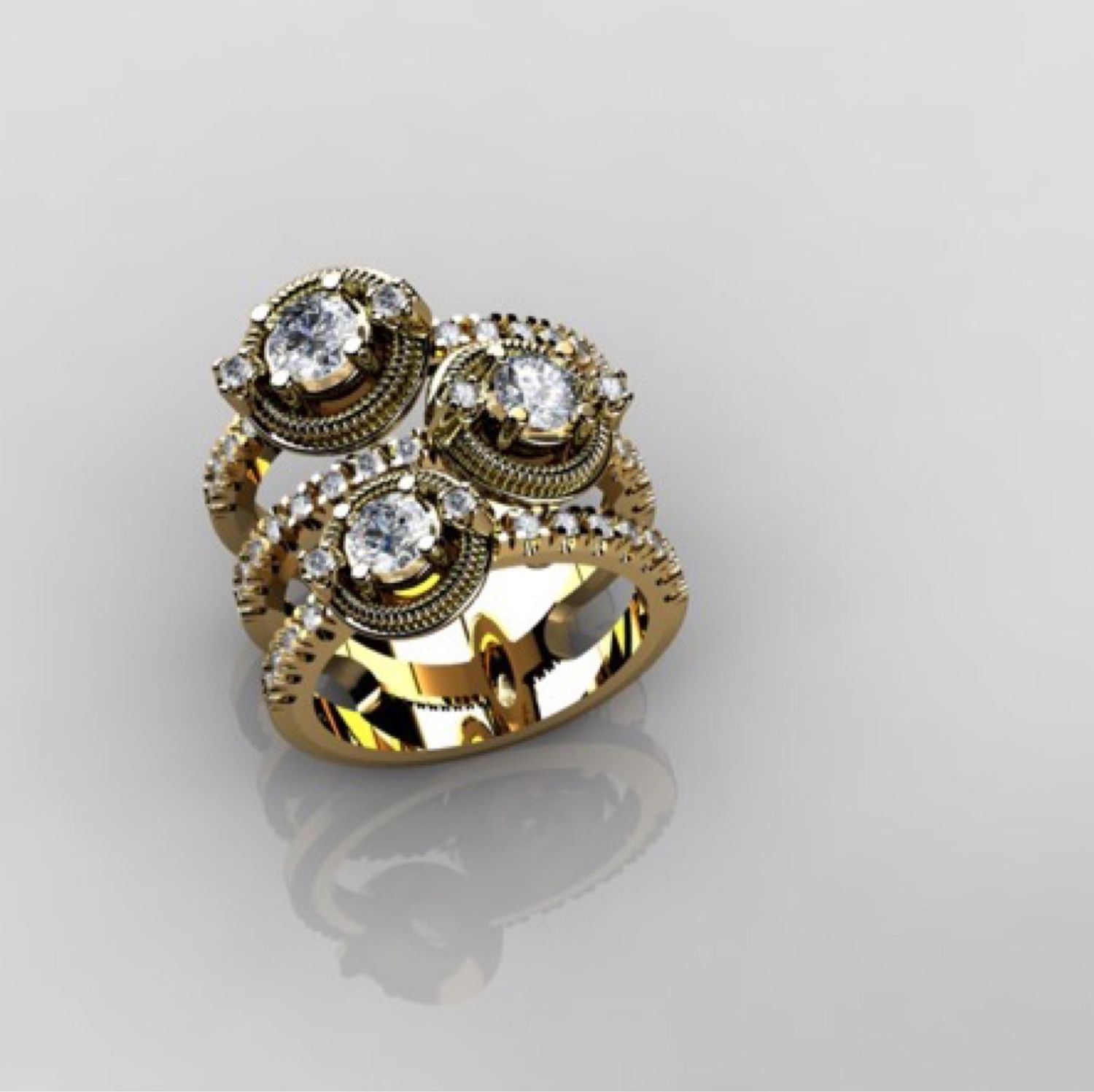 Adriana.  585 gold ring with diamonds, Rings, Moscow,  Фото №1