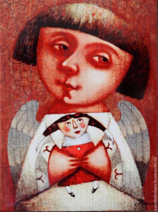 """Персональные подарки ручной работы. Ярмарка Мастеров - ручная работа. Купить """" Ангел с куклой"""",  авторская печать. Handmade. Коралловый"""
