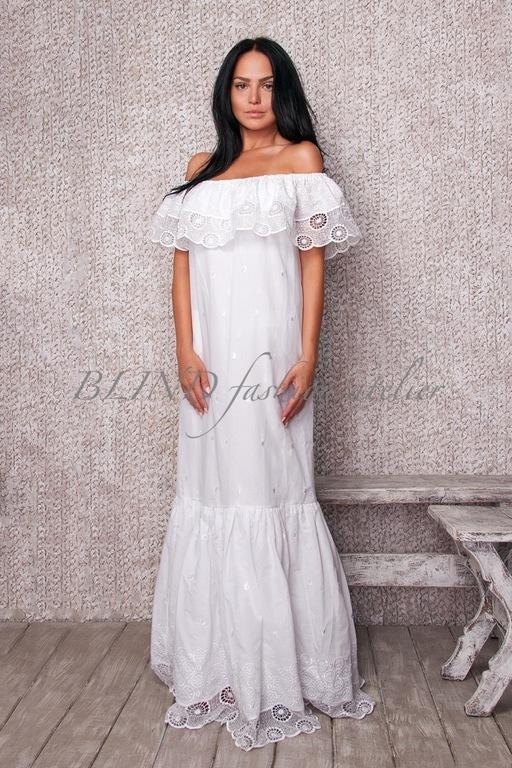 Платья ручной работы. Ярмарка Мастеров - ручная работа. Купить Платье из хлопка 00067. Handmade. Белый, blind, кружево