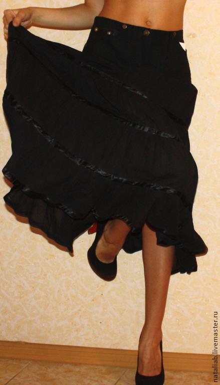 """Юбки ручной работы. Ярмарка Мастеров - ручная работа. Купить Льняная юбка """"Черные ночи"""". Handmade. Черный, лён натуральный"""