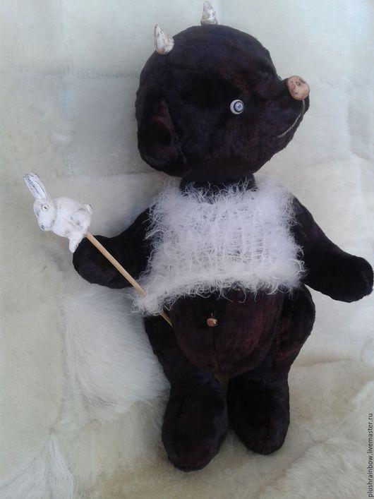 Мишки Тедди ручной работы. Ярмарка Мастеров - ручная работа. Купить Плюшевый Чёрте-что и сбоку бантик. Handmade. Черный